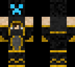 Mini Mage Holding Gamer Neon Blue and Black Creeper Head