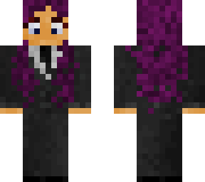 Purple haired girl in a suit